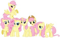 Mane 6 as My Little Fluttershy by Shadowhedgiefan91.deviantart.com @deviantART