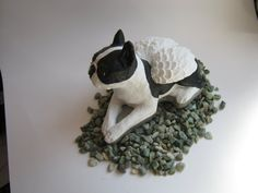 Boston Terrier Statue Dog Angel Memorial by WestWindHomeGarden