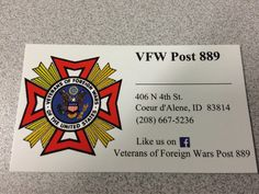 Check out the coeur d Alene VFW post 889. Meeting every third Thursday.