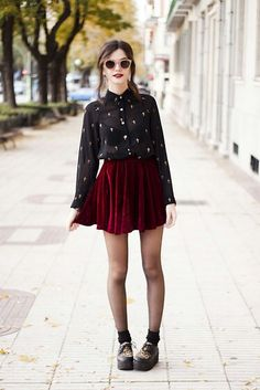 maroon velvet mini skit with leopard print creepers and black oxford