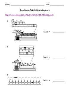Science Basics Reading a Triple Beam Balance Worksheet Packet ...