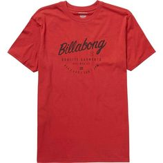 Billabong Unisex Halfway Tee ($22) ❤ liked on Polyvore featuring tops, t-shirts, red, t-shirt/prints, crew neck tee, logo t shirts, graphic print t shirts, unisex t shirts and crew t shirts