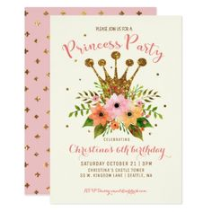 #party - #Princess Party Glitter Floral Crown Bday Invite