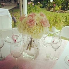 Pink baby shower centerpiece