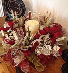 Burgundy Lily Centerpiece/Burgundy Moss Burlap and Cream