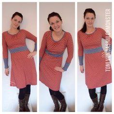 """E-Book Raglankleid """"Toni """" - Basiskleid mit Faltenausschnitt & Taillenbündchen - dasmilchmonster lillestoff - zigzag"""
