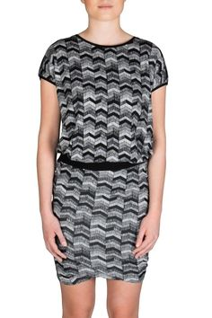 """Soft scoop neck t-shirt with black and white pattern. Great with the matching skirt or over leggings or jeans!  Top measures 24"""" from back of neck.   Norma T-Shirt by Soaked in Luxury. Clothing - Tops - Tees & Tanks Canada"""