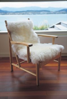 New Zealand sheepskin pelt. I love this look, and especially in a dining room. Fibre by Auskin