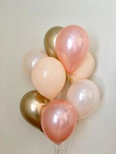Rose Gold Peach Chrome Gold Blush Latex Balloons~Wedding~Bridal Shower~First Birthday~Bachelorette~Rose Gold Party~Rose Gold Balloons~Blush