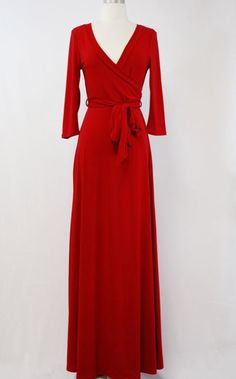 Red faux wrap maxi dress  Order at Shannasthreads.com