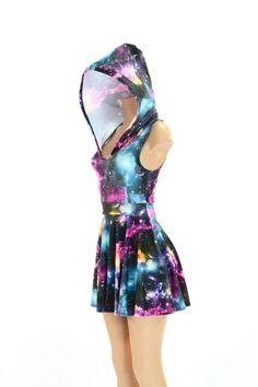 Pocket Hoodie Skater Dress in UV Glow Galaxy Print