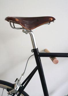 wooden bike hook // OAK WOOD // COPPER by fluoshop on Etsy