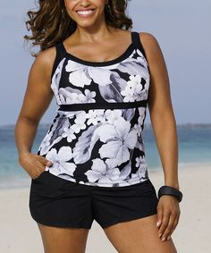 Another great find on #zulily! Black & White Casablanca Tankini Top - Women & Plus #zulilyfinds