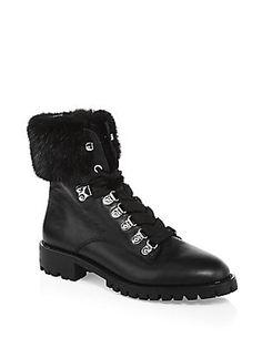 1659d3383783 Rebecca Minkoff Jaylin Fox-Fur Trim Leather Combat Boots