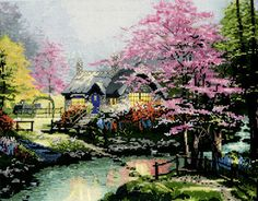 Thomas Kinkade Stepping Stone Cottage - Cross Stitch Kit