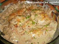 Cinco sentidos na cozinha: Bifes de frango com cogumelos em molho de vinho do...