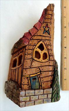 Bark Carving Whimsical Houses | Whimsical Gnome House carved Cottonwood Bark LED by Riptideart
