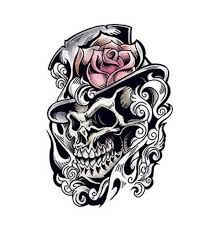Resultado de imagem para skull and roses tattoo