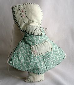 Tooth Fairy Pillow Sun Bonnet Sue Vintage Quilt Green White Blue Valentines Day