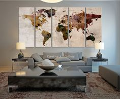 Map Art - Large Canvas Print Rustic World Map, Large Wall Art, Extra Large Vintage World Map Print for Home and Office Wall Decoration