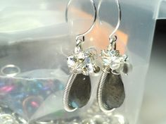 Stunning Labradorite Coil Wrapped Earrings by fatdogbeads on Etsy, $35.00