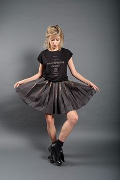 Outfit: CopperPleat + OneWayOrAnother Black Model: Ada Gales Photo: Catalin Neacsea Mini denim skirt with copper foil on the pleats Dip Dye, Black Models, Denim Skirt, Copper, Ballet Skirt, Dark, Mini, Skirts, Fabric