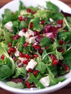 Pomegranate and Feta Salad- festive holiday salad. Create in our Bake and Fill Crispy Salad Shell. Pomegranate And Feta Salad, Pomegranate Seeds, Soup And Salad, Salad Bar, Cooking Recipes, Healthy Recipes, Fruits And Veggies, Holiday Recipes, Salad Recipes