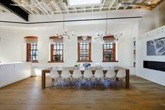 Restaurant with skylight design concept, chic glass pendant lighting: