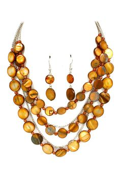 Chestnut Mother of Pearl Necklace Set on Emma Stine Limited
