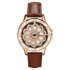 SANDA 2018 Rhinestone Women Watches Rotation Dress Ladies Watch Leather Band Big Dial Bracelet Wristwatch Crystal Clock horloges From Touchy Style Outfit Accessories ( Pink ) Cheap Watches For Men, Cute Watches, Stylish Watches, Vintage Watches, Luxury Watches, Ladies Watches, Women's Watches, Popular Watches, Silver Pocket Watch