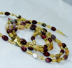 Multi Agate Gemstone (red striped, lace, grey and morrocco) Beaded Eyeglass Chain by nonie615, $32.00