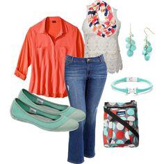 """Seafoam Peach"" by pattzy on Polyvore.  Plus Size fashion"