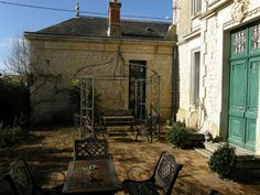 French chateau courtyard in Poitou Charentes, France
