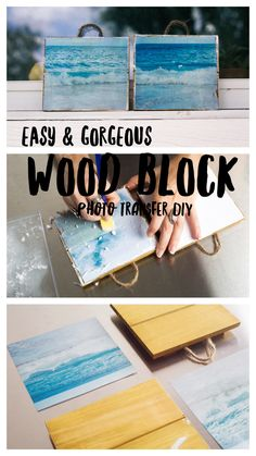 Need a cool update for your photos? Turn them into Wood Block Photo Transfer Prints! They are easy to make and gorgeous. DIY by Pop Shop America. Diy Projects To Sell, Crafts To Do, Craft Tutorials, Home Crafts, Diy Crafts, Art Projects, Wood Block Crafts, Wood Blocks, Shop America