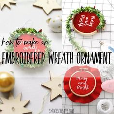 Create an adorable ornament for your tree this year with this beginner embroidery project. This embroidered ornament tutorial features a mini wreath! Embroidered Christmas Ornaments, Christmas Ornament Crafts, Handmade Ornaments, Ornament Wreath, Handmade Christmas, Holiday Crafts, Christmas Garlands, Christmas Embroidery, Holiday Decor