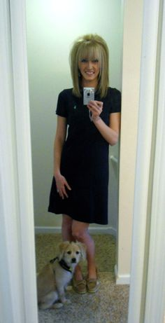 Navy dress, and our cockeranian puppy named Bentley