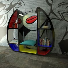 This library of high design is characterized by elegance but also and above all functionality from innovation.   Shelley is not just a simple library, but can also become a sitting area where you can comfortably read a book, and this is also thanks to housing of an LED light that points directly on the seat.  GLOSS LACQUER FINISH