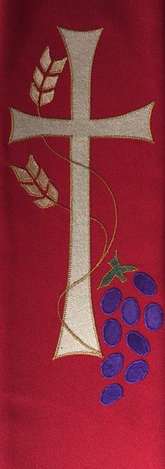 Cross, wheat and grapes church stole