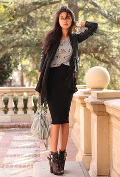 Black pencil skirt,black shoe/booties,black fly-away cardigan or blazer, t-shirt.