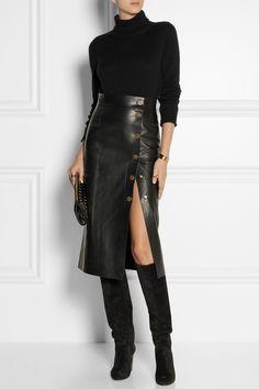 Tamara Mellon | Double-faced leather wrap skirt | NET-A-PORTER.COM