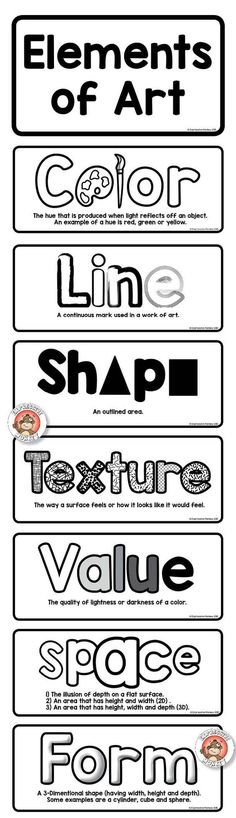 Elements of Art Definition Cards - Printable Sheets -: