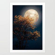 Under Full Moon Art Print by Texnotropio - X-Small Moon Print, Full Moon, Celestial, Art Prints, Harvest Moon, Art Impressions, Blue Moon