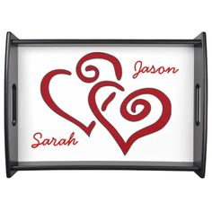 Entwined Hearts Design Serving Tray