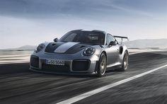 Descargar fondos de pantalla Porsche 911 GT2 RS, 2018, los coches de Carreras, coche de deportes, gris 911, Porsche