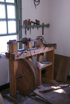Lathe treadle powered