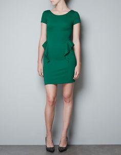 SHORT SLEEVE PEPLUM DRESS - Dresses - TRF - ZARA