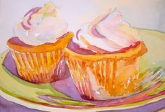 Cup cake twins, painting by artist Jo MacKenzie