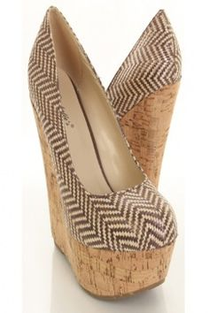 Brown Zig Zag Straw Woven Faux Leather Closed Toe Cork Platform Wedges