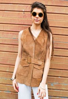 c337647a3 Vintage 70s light tan real suede waistcoat with two pockets and belt with  gold metal buckle