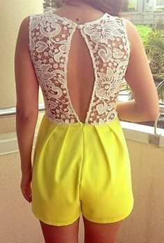 Yellow & White Lace Back Playsuit #romper